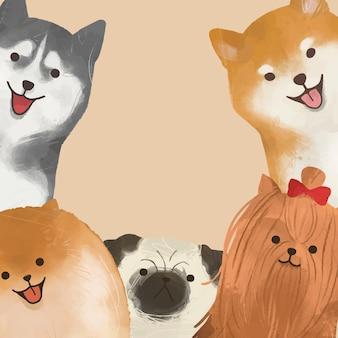 베이지색 바탕에 귀여운 강아지 테두리 프레임