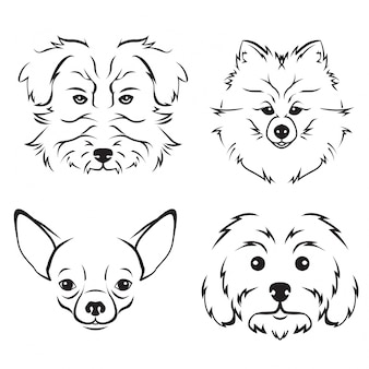 Cute dog breed face illustration set