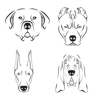 かわいい犬の品種ラインアートロゴセット