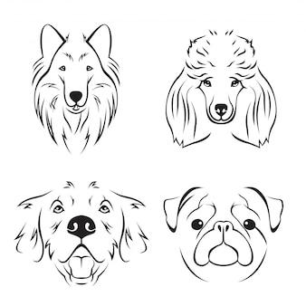 Cute dog breed line art logo set