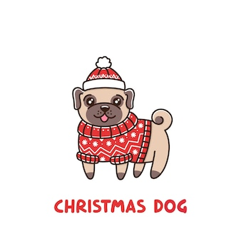 Cute dog breed pug in a fair isle red sweater and hat