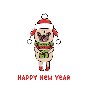 Cute dog breed pug in hat and scarf is holding gift