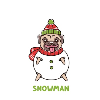 Cute dog breed pug snowman in a hat and scarf