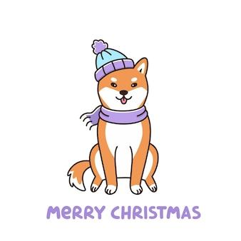 Милая собака породы шиба ину в шляпе и шарфе с рождеством
