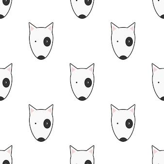 Симпатичные собаки бультерьер лицо бесшовные модели животных