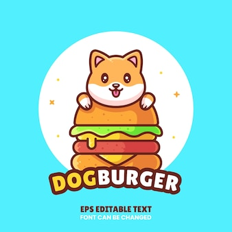 Cute dog burger logo vector icon illustrationpremium fast food logo in flat style for cafe