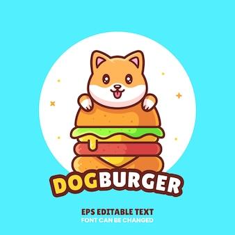 Симпатичная собака бургер логотип вектор значок иллюстрации премиум фаст-фуд логотип в плоском стиле для кафе