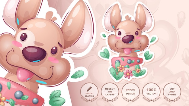Cute dog in bush - funny sticker