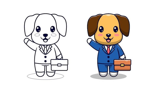 아이들을위한 귀여운 강아지 사업가 만화 색칠 공부 페이지