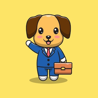 かわいい犬の実業家の漫画イラスト