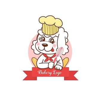 가게에 대한 귀여운 강아지 만화 빵집 로고.