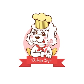 Cute dog cartoon bakery logo for shop.