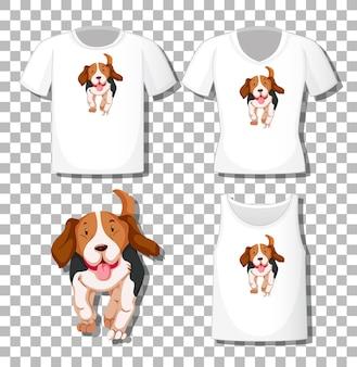 Simpatico personaggio dei cartoni animati di cane con set di camicie diverse isolato su trasparente