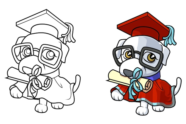 Cute dog cartoon coloring page for kids