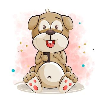 Милый мультфильм собака играет в игру на смартфоне иллюстрации