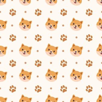 Cute dog cartoon seamless pattern