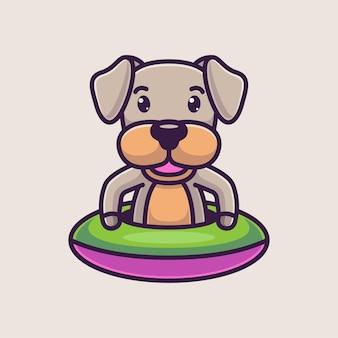 Милая собака мультфильм плавание