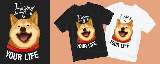 Симпатичная собака мультяшный дизайн футболки