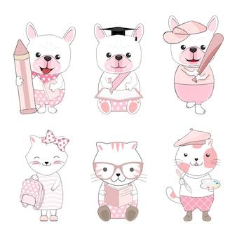 Cute dog and cat animals cartoon