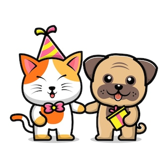 Cute dog and cat at birthday party cartoon illustration