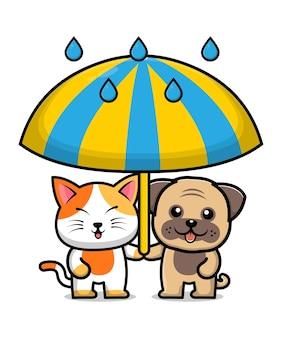 Cute dog and cat friend cartoon illustration Premium Vector