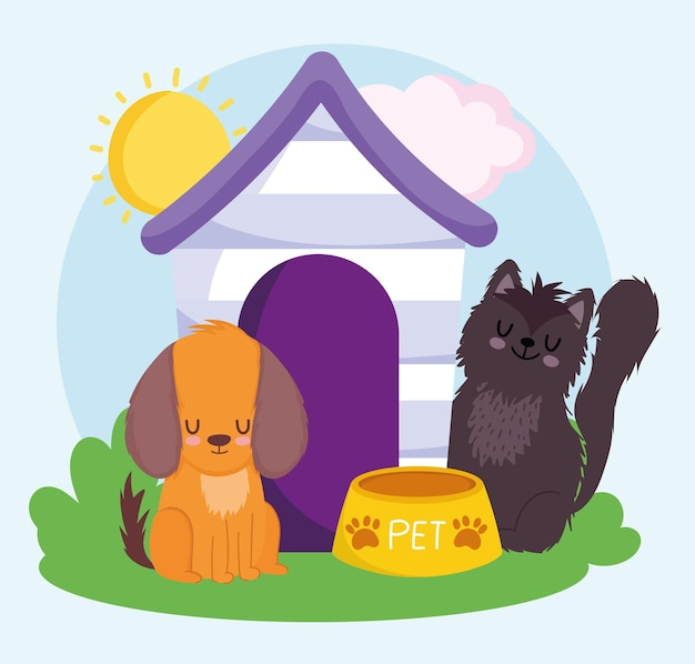 Cute dog and cat with wooden house food pets vector illustration