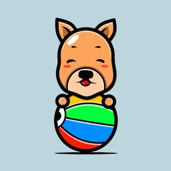 Симпатичный персонаж собаки и пляжный мяч