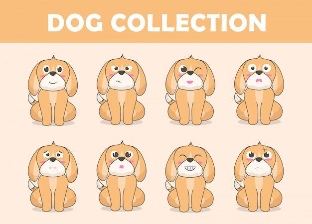 Cute dog character collection