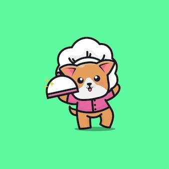 Cute dog chef cartoon icon illustration