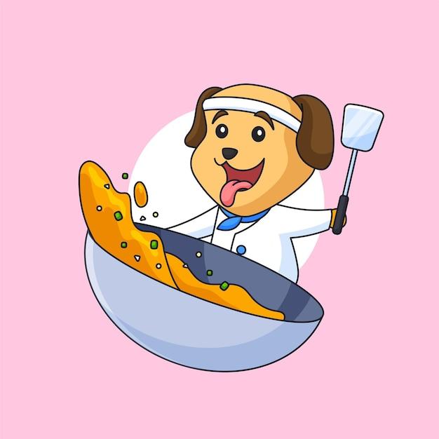주걱 요리 음식 벡터 일러스트 동물 만화 레스토랑 로고 디자인을 들고 귀여운 강아지 요리사