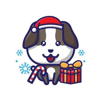 Симпатичная собака рождественский дизайн