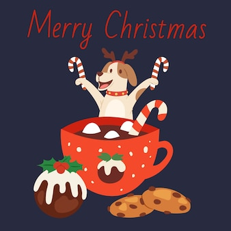 Cute dog in christmas reindeer antlers with mug of chocolate, winter holidays cake and candies  illustration. merry christmas card.