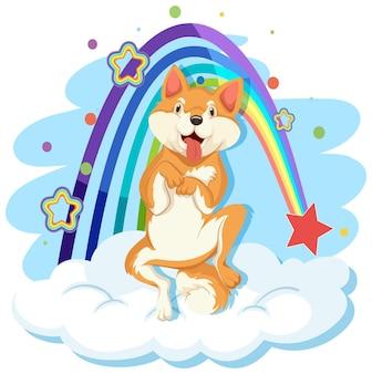 Cute dog on the cloud with rainbow
