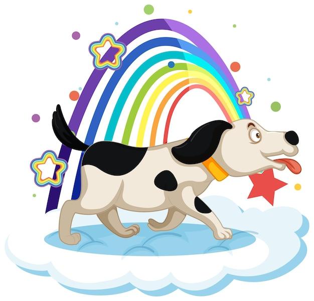 Simpatico cane sulla nuvola con arcobaleno