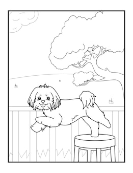 子供と子供のためのかわいい犬の着色のページ