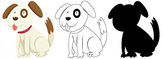 Cute dog in colour and outline and silhouette