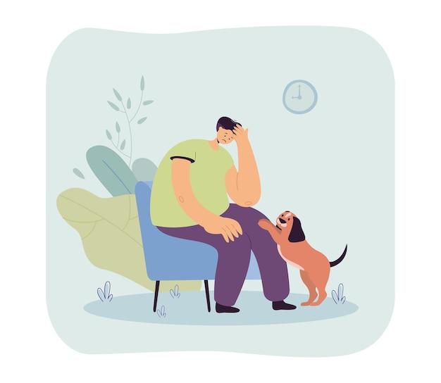 슬픈 주인을 위로하는 귀여운 강아지. 화가 난 남성 캐릭터는 의자에 앉아 있고, 애완동물은 주의 평면 삽화를 요구합니다.