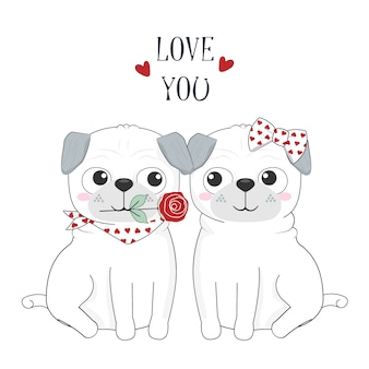 Cute dog couple in love and rose