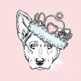Cute dog in a crown. vector illustration.