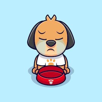 かわいい犬の泣いている漫画アイコンイラスト。フラット漫画スタイル