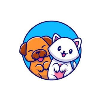 Illustrazione di cartone animato carino cane e gatto carino