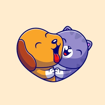Cute dog e cute cat love cartoon vector icon illustration. concetto di icona natura animale isolato vettore premium. stile cartone animato piatto