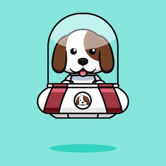 Cute dog design with ufo