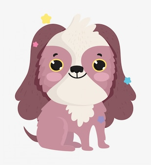 Cute dog domestic cartoon animal, pets illustration