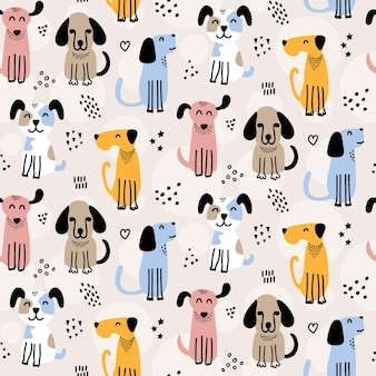 Cute dog doodles seamless pattern