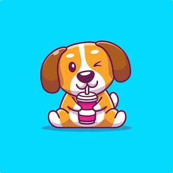 Милый пес пить животное