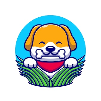 Cute dog eating bone on grass cartoon icon illustration.