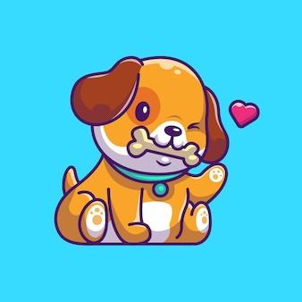 Симпатичные собаки едят кость значок иллюстрации. щенок талисман мультипликационный персонаж. животное иконка концепция изолированные
