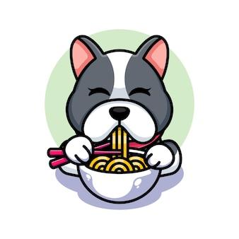 Милая собака ест рамэн с мультфильмом палочки для еды