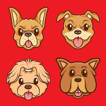 Cute dog face character illustration set